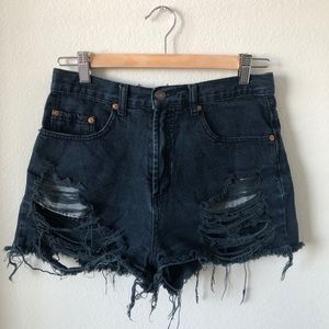 Signature8 ripped distressed high waisted shorts M